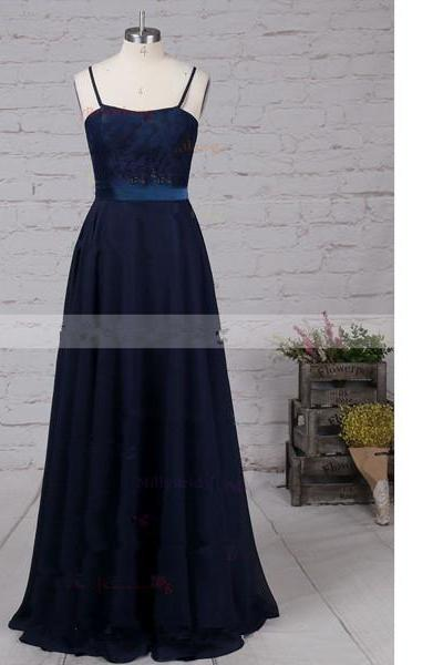 A-Line Scoop Neck Chiffon Floor-Length Appliques Lace Open Back Navy Long Prom Dresses