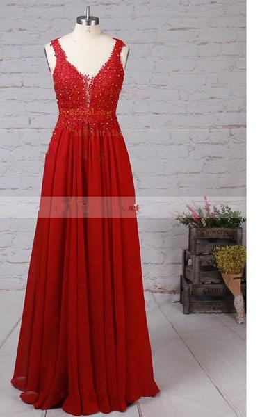 A-Line V-Neck Chiffon Tulle Floor-Length Beading Appliques Lace Elegant Red Long Prom Dresses
