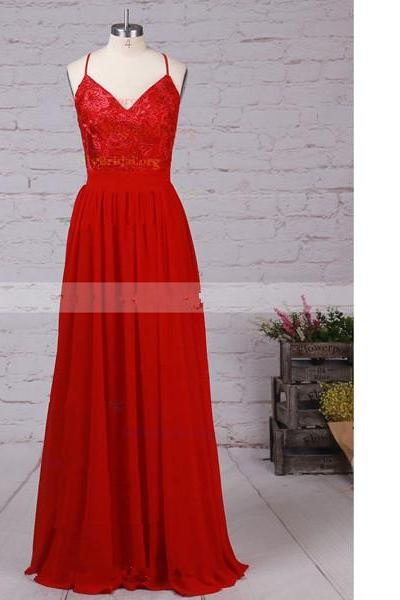 A-Line V-Neck Chiffon Floor-Length Beading Open Back Red Long Prom Dresses