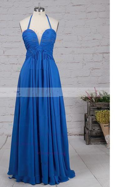 A-Line Halter Chiffon Floor-Length Ruffles Open Back Royal Blue Long Prom Dresses