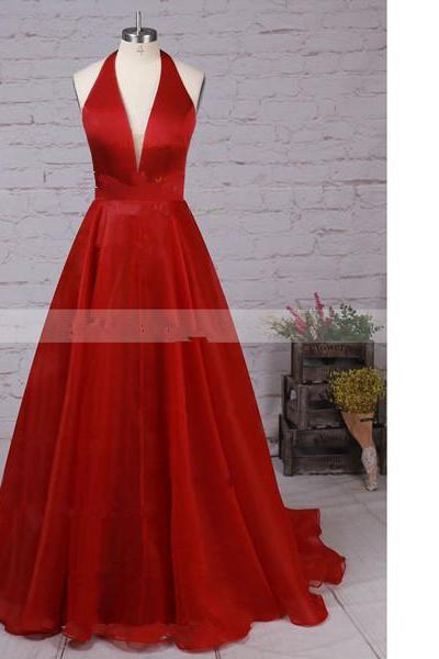 Princess Halter Satin Organza Sweep Train Draped Open Back Red Long Prom Dresses