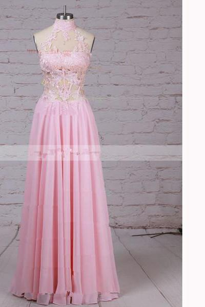 A-Line High Neck Chiffon Tulle Floor-Length Appliques Lace Pink Long Prom Dresses