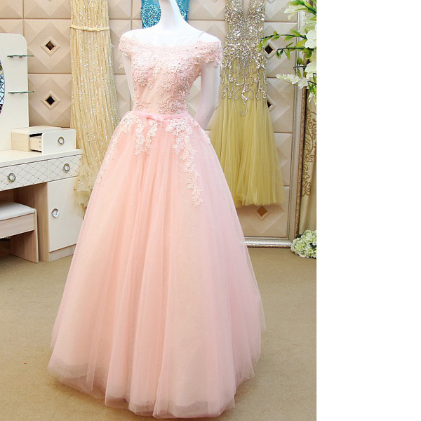 Princess Off-The-Shoulder Tulle Appliques Lace Sashes/Ribbons Sweet Flow Pink Long Prom Dresses