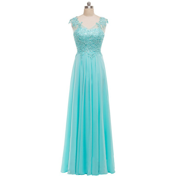 Teal A-Line V-Neck Chiffon Tulle Appliques Lace Sweet Flow Wholesale Long Prom Dresses